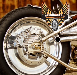 Photo of a brown effect harley rear tire with Reinhardts logo