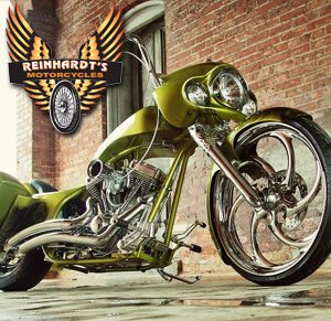 Photo of a Custom Harley with Reinhardt's Motorcycle logo