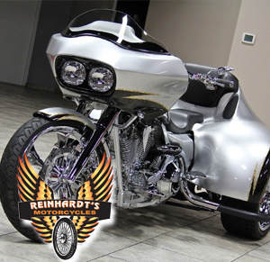 Photo of a Harley Davidson Trike Conversion Kit with Reinhardt's Logo