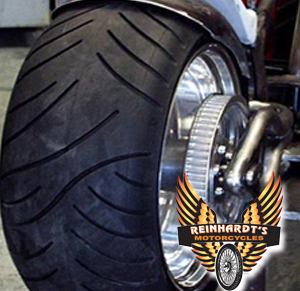 Photo of a fatboy Harley tire